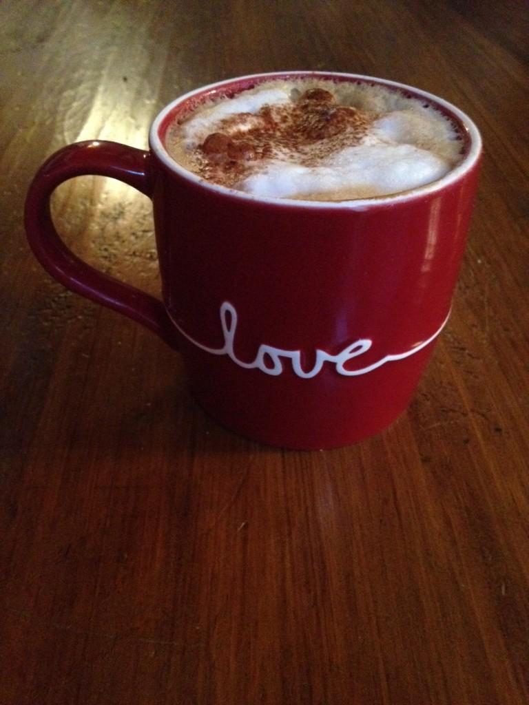 Hazelnut cappuccino with organic milk